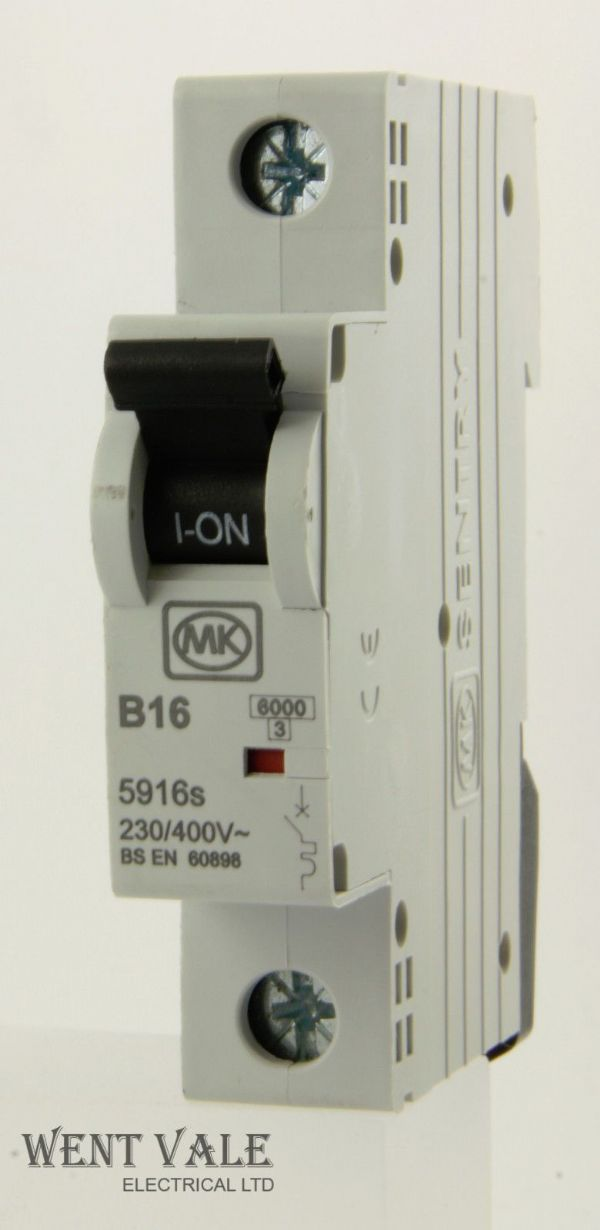 MK Sentry - 5916s - 16a Type B Single Pole MCB Latest S5 Model Used